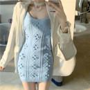 Dress Summer 2021 Blue sweater, khaki sweater Average size Short skirt singleton  Sleeveless commute Solid color 18-24 years old Type H Korean version 3.30B