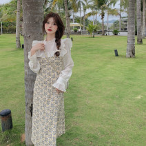 Dress Summer 2021 Dress Average size Mid length dress Fake two pieces Long sleeves commute other other other other pagoda sleeve 18-24 years old Type H Retro Splicing 3.31C