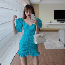 Dress Summer 2021 White, blue Average size Short skirt singleton  Short sleeve commute V-neck High waist Solid color other A-line skirt puff sleeve 18-24 years old Type A Korean version Lotus leaf edge 4.1A