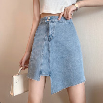 skirt Summer 2021 S,M,L blue Short skirt commute High waist A-line skirt Solid color Type A 18-24 years old 4.12A Pocket, asymmetric, button, zipper Korean version