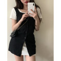 Dress Summer 2021 Suspender skirt, white skirt Average size Short skirt Two piece set Short sleeve commute Crew neck Solid color Socket A-line skirt routine 18-24 years old Type A Korean version 4.1A