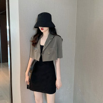 Dress Summer 2021 S. M, l, average size Short skirt Two piece set Sleeveless commute V-neck Solid color A-line skirt camisole 18-24 years old Type A Korean version Open back, pocket, button 4.8C
