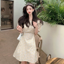 Dress Summer 2021 Small yellow flower Average size Middle-skirt singleton  Short sleeve commute Crew neck Broken flowers A-line skirt puff sleeve 18-24 years old Type A Korean version Frenulum