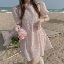 Dress Summer 2021 Pink with bag, blue-green with bag Average size Short skirt singleton  Short sleeve commute Crew neck High waist A-line skirt puff sleeve 18-24 years old Type A Korean version 3.30B