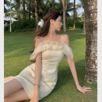 Dress Summer 2021 Picture color S, M Short skirt singleton  Short sleeve commute One word collar High waist Solid color other other puff sleeve camisole 18-24 years old Type A Korean version Lotus leaf, nail bead 4.1C