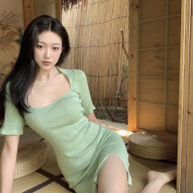 Dress Summer 2021 green Average size Middle-skirt singleton  Short sleeve commute other Solid color Socket other routine 18-24 years old Type A Korean version 3.30C