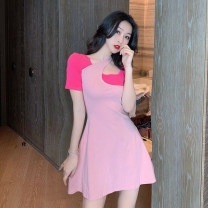 Dress Summer 2021 Grey, pink Average size Short skirt Fake two pieces Short sleeve commute Crew neck High waist other A-line skirt routine 18-24 years old Type A Korean version Splicing 4.10A