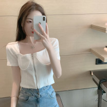 T-shirt White, green, black S,M,L Summer 2021 Short sleeve square neck Self cultivation have cash less than that is registered in the accounts routine commute other 30% and below 18-24 years old Korean version youth Solid color 4.10C zipper