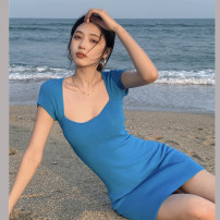 Dress Summer 2021 blue Average size Short skirt singleton  Short sleeve commute square neck Solid color routine 18-24 years old Type H Korean version 4.2B