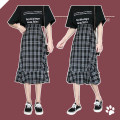 skirt Spring 2021 S,M,L Hagrid Mid length dress Versatile High waist A-line skirt lattice Type A 18-24 years old 30% and below cotton Splicing