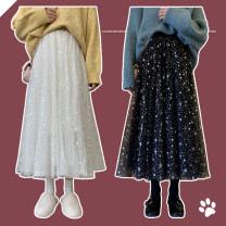 skirt Spring 2021 Average size Apricot, black Mid length dress commute High waist A-line skirt Solid color Type A 18-24 years old More than 95% Chiffon polyester fiber Gauze