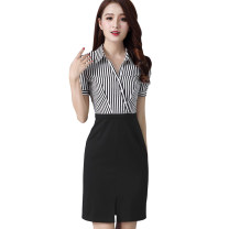 Dress Summer 2021 black Middle-skirt singleton  Short sleeve commute V-neck middle-waisted stripe Three buttons One pace skirt puff sleeve Others Type H Ol style Splicing 51% (inclusive) - 70% (inclusive) brocade cotton