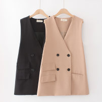 Vest Autumn 2020 Black, Khaki Medium length tailored collar commute Solid color double-breasted other 30-34 years old 31% (inclusive) - 50% (inclusive) polyester fiber Pocket, button polyester cotton