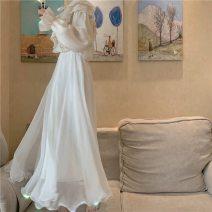 skirt Autumn of 2019 XS,S,M,L,XL,2XL Pure white longuette commute Natural waist Ruffle Skirt