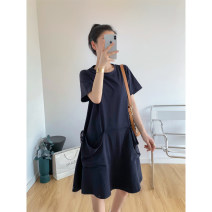 Dress Summer 2020 Tibetan green XS,S,M Mid length dress singleton  Short sleeve commute Crew neck Loose waist Solid color Socket A-line skirt routine 25-29 years old Type A Simplicity Pocket, lace up zs2020053102 More than 95% cotton