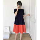 Dress Summer of 2019 Navy with orange, purple with pink XS,S,M,L,XL,2XL Mid length dress singleton  Short sleeve commute Crew neck Loose waist Solid color routine Others 25-29 years old Type A Simplicity Splicing ZS2019072501 81% (inclusive) - 90% (inclusive) other cotton