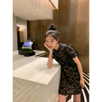 Dress Spring 2021 Mist bubble powder, Mediterranean black top, Mediterranean black dress Short sleeve routine 18-24 years old Kernel Cosmos / kernel universe More than 95% cotton