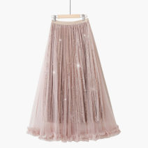 skirt Summer 2021 One size elastic waist Mid length dress gorgeous High waist A-line skirt Solid color Type A 18-24 years old 71% (inclusive) - 80% (inclusive) Lace Thua polyester fiber