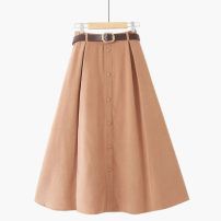 skirt Spring 2021 One size elastic waist Mid length dress commute High waist A-line skirt Solid color Type A 18-24 years old 020180823-01 Korean version