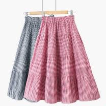 skirt Summer 2021 One size elastic waist Red check [New + splicing], black check [New + splicing] Mid length dress Versatile High waist A-line skirt lattice Type A 18-24 years old 020190311-01 71% (inclusive) - 80% (inclusive) other Thua cotton Splicing