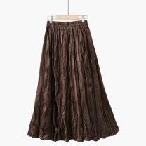 skirt Summer 2021 One size elastic waist Apricot [H solid / full pleated velvet skirt], dark green [H solid / full pleated velvet skirt], grey [H solid / full pleated velvet skirt], deep coffee [H solid / full pleated velvet skirt], black [H solid / full pleated velvet skirt] longuette Retro Type A