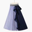 skirt Summer 2021 One size elastic waist Blue stripe + Tibetan blue [contrast skirt], black stripe + black [contrast skirt] Mid length dress Versatile High waist Irregular stripe Type A 18-24 years old 020190430-01 81% (inclusive) - 90% (inclusive) Chiffon Thua other