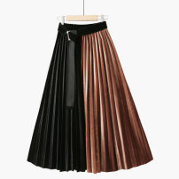 skirt Spring 2021 One size elastic waist Mid length dress grace High waist Splicing style Type A 18-24 years old 020190903-02 71% (inclusive) - 80% (inclusive) corduroy Thua Splicing