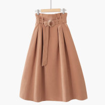skirt Spring 2021 One size elastic waist Mid length dress Versatile High waist A-line skirt Solid color Type A 18-24 years old other Frenulum