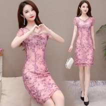 Dress Summer 2021 Purple, red, pink M,L,XL,2XL,3XL,4XL,5XL Mid length dress singleton  Short sleeve commute Crew neck High waist Decor Socket A-line skirt routine Others 40-49 years old Type A Other / other ethnic style YJY9A31 polyester fiber