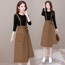Dress Spring 2021 Red, Khaki M,L,XL,2XL,3XL,4XL Fake two pieces Long sleeves commute Crew neck High waist Solid color Socket A-line skirt routine Others 40-49 years old Type A Other / other Korean version Pocket, lace up, panel, button ZXG-M2010# other
