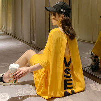 Dress Other / other White, yellow, black M,L,XL,XXL Korean version Short sleeve have more cash than can be accounted for summer Crew neck Pure cotton (95% and above)