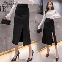 skirt Winter of 2019 S M L XL 2XL black Mid length dress commute High waist skirt Solid color Type A 25-29 years old NS1089901 81% (inclusive) - 90% (inclusive) other Nonsar / ningsa polyester fiber zipper Korean version Polyester 90% other 10% Pure e-commerce (online only)