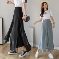 Casual pants Black blue white S M L XL 2XL Summer 2020 Ninth pants Wide leg pants High waist Versatile ultrathin 25-29 years old NSC0469916 Nonsar / ningsa other Polyester 90% other 10% Pure e-commerce (online only)