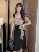 Dress Summer 2020 Picture color S M L XL 2XL Mid length dress singleton  Short sleeve commute V-neck High waist Dot Socket A-line skirt puff sleeve Others 18-24 years old Type A Nonsar / ningsa Korean version Open back fold tie stitching asymmetric tie NSC07889509 81% (inclusive) - 90% (inclusive)