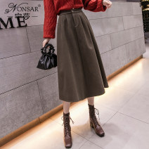 skirt Winter 2020 S M L XL Dark coffee black Mid length dress commute High waist A-line skirt Solid color Type A 18-24 years old NSB1097528 81% (inclusive) - 90% (inclusive) Wool Nonsar / ningsa polyester fiber Pocket button Korean version Polyester 90% other 10% Pure e-commerce (online only)