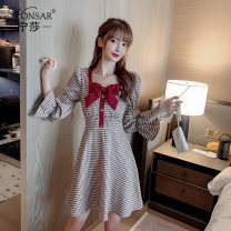 Dress Autumn 2020 Red blue S M L XL Middle-skirt singleton  Nine point sleeve commute square neck middle-waisted lattice Socket bishop sleeve Others 18-24 years old Type A Nonsar / ningsa Korean version Butterfly dew back button zipper NSC0852011 81% (inclusive) - 90% (inclusive) other