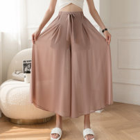 Casual pants Pink black blue S M L XL Summer 2021 Ninth pants Wide leg pants High waist Versatile Thin money 25-29 years old Nonsar / ningsa other belt Polyester 90% other 10% Pure e-commerce (online only)