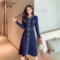 Dress Autumn 2020 Apricot blue S M L XL Mid length dress singleton  Long sleeves commute Crew neck High waist other zipper A-line skirt other Others 25-29 years old Nonsar / ningsa Korean version STUDDED ZIPPER 81% (inclusive) - 90% (inclusive) other polyester fiber Polyester 90% other 10%