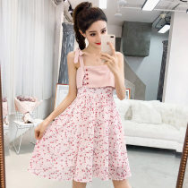 Dress Summer of 2018 Pink SMLXL Middle-skirt singleton  Sleeveless Sweet One word collar High waist Decor Socket Big swing camisole 18-24 years old bow