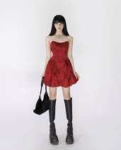 Dress Spring 2021 Red dress (20 days in advance), white dress (20 days in advance), black dress (20 days in advance) S, M Short skirt singleton  Sleeveless commute One word collar High waist Solid color zipper A-line skirt routine camisole 18-24 years old Type A Zipper, print polyester fiber