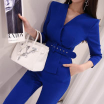 Casual pants Blue, black S,M,L,XL Spring 2021 trousers Jumpsuit High waist commute routine 25-29 years old 81% (inclusive) - 90% (inclusive) M57 Other / other other Ol style belt nylon Asymmetry