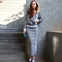 Dress Spring 2021 Light grey, blue S,M,L,XL,2XL longuette Two piece set Long sleeves commute Hood High waist Solid color zipper One pace skirt routine 25-29 years old Type H Other / other Korean version Pocket, zipper brocade
