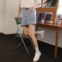 skirt Summer 2021 S M L blue Short skirt commute Natural waist Denim skirt Type A 18-24 years old EG21036045 More than 95% You give cotton pocket Cotton 100% Pure e-commerce (online only)