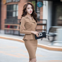 Dress Autumn of 2018 Black, apricot, black (long sleeve), apricot (long sleeve) S,M,L,XL,2XL Mid length dress Fake two pieces Long sleeves commute tailored collar High waist Solid color double-breasted One pace skirt routine Others 30-34 years old Type X HZBX8106-1 81% (inclusive) - 90% (inclusive)