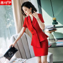 Professional dress suit S M L XL XXL XXXL 4XL Black suit + black skirt red suit + red skirt jujube red suit + jujube red skirt white suit + black skirt black suit + black trousers red suit + black trousers red suit + Black Wide Leg Trousers Summer of 2019 Short sleeve DKY58-1908 Coat other styles
