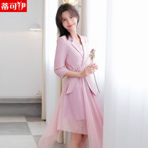 Dress Spring 2021 942 fruit green dress 942 black dress 942 yellow dress 942 purple pink dress S M L XL XXL XXXL 4XL Mid length dress Fake two pieces three quarter sleeve commute tailored collar High waist Solid color other Irregular skirt routine Others 18-24 years old Type H Tikoy DKY21YL-942 other