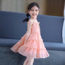 Dress Pink chiffon skirt with drawstring female Walking rabbit 100cm 110cm 120cm 130cm 140cm 150cm 160cm Other 100% summer princess Skirt / vest other Chiffon A-line skirt C-Q19221 Class B Summer of 2019 Chinese Mainland