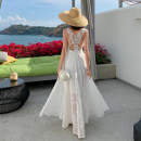 Dress Summer 2020 white S,M,L longuette singleton  Sleeveless commute V-neck High waist Solid color Big swing camisole Type A Simplicity Backless, embroidered, Gouhua, hollowed out, lace YR3037#
