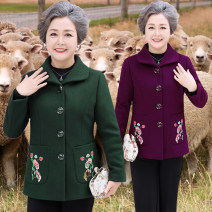Middle aged and old women's wear Autumn of 2019 ethnic style woolen coat easy singleton  Solid color Over 60 years old Cardigan thick Polo collar routine Embroidery wool 30% and below Single breasted