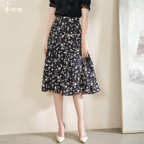 skirt Summer 2021 S M L XL XXL Black / spot direct delivery Mid length dress commute High waist A-line skirt Broken flowers Type A 35-39 years old 1Q21BI1384 More than 95% other Mi Siyang polyester fiber printing lady Polyester 100% Same model in shopping mall (sold online and offline)